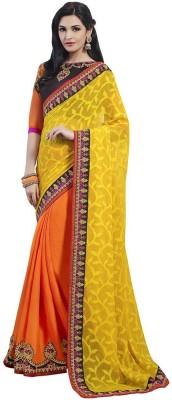 Zenny Creation Solid Bollywood Brasso Sari