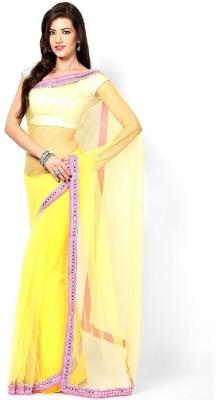 Lime Fashion Solid Fashion Net Sari