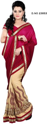 SHRADDHA PRINTS Embriodered, Woven Bollywood Crepe, Synthetic Georgette Sari