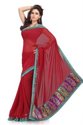 Preeti Solid, Self Design Bollywood Georgette Sari