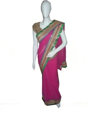 SanSaree Striped Bollywood Georgette Sari