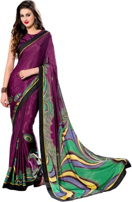 Styleworld Printed Fashion Crepe, Jacquard Sari