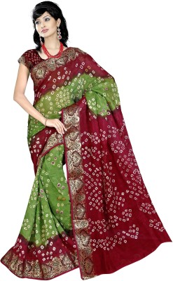 Keeps Creation Geometric Print Bandhani Printed Silk Sari