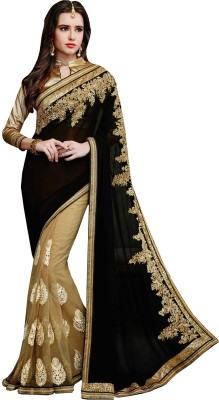 Prabha Creation Solid, Embellished, Embriodered Fashion Georgette Sari