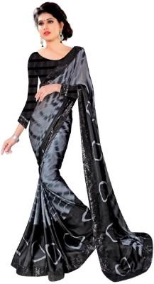 Pihu Fashion Floral Print Bollywood Handloom Satin Sari
