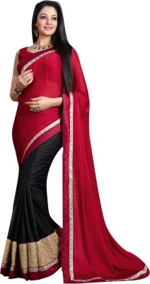 Lajo Printed Bollywood Satin, Chiffon, Shimmer Fabric Sari