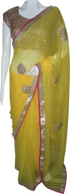 SanSaree Self Design Fashion Georgette Sari