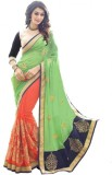 Kmozi Embroidered Bandhej Georgette Sare...