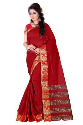 Azara Lifestyle Plain Banarasi Cotton Sari
