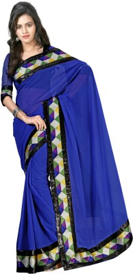 V Star Solid Fashion Chiffon Sari