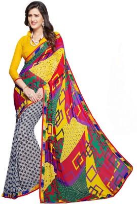 Salwar Studio Geometric Print, Printed Daily Wear Synthetic Georgette Sari