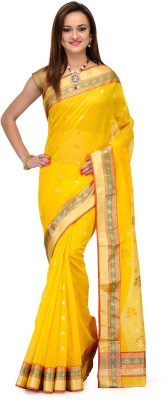 Aadhuni Self Design Banarasi Chanderi Saree(Gold) at flipkart