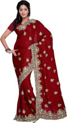 Panash Creations Embriodered, Embellished Bandhani Jacquard Sari