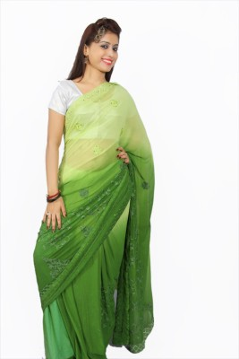 Creativz Hand Embriodered Daily Wear Synthetic Chiffon Sari