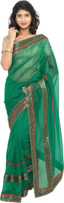sarvagny clothing Self Design, Plain Kota Doria Kota Cotton, Net Saree(Green) at flipkart