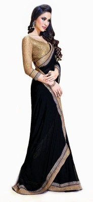 Dhnet Self Design Fashion Georgette Sari