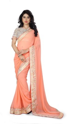 Happyshop Solid Bollywood Chiffon Sari