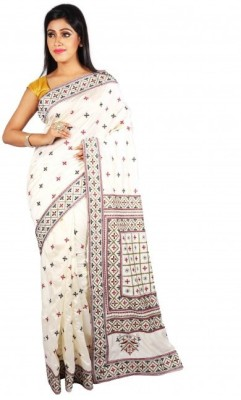 mtpn Embriodered Katha Silk Sari