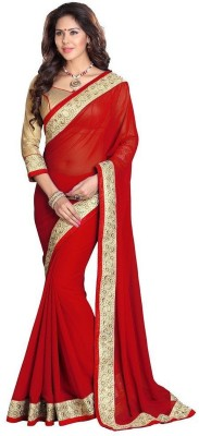 Saiyaara Fashion Embriodered, Plain Fashion Georgette Sari