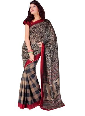 AJS Paisley, Geometric Print Fashion Art Silk Sari