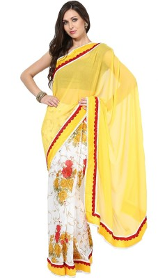 Fabaron Enterprise Printed, Solid Fashion Pure Chiffon Sari