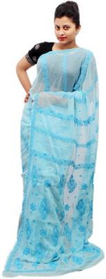 Modrich Embriodered Lucknow Chikankari Handloom Georgette Sari
