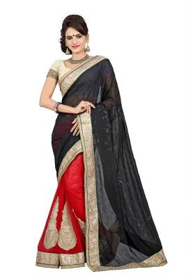 Krishna Prints Embriodered Bollywood Chiffon Sari