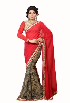 Crafts N Culture Solid Fashion Georgette, Pure Chiffon Sari