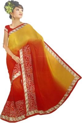 Pushkar Sarees Printed Bandhej Handloom Georgette Sari