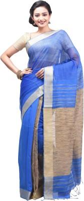 Creation Striped Fashion Handloom Silk Cotton Blend, Jute Sari