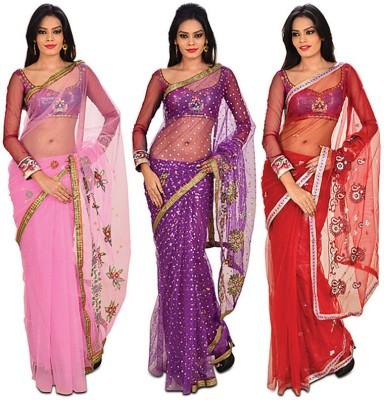 HANSIKAcollection Self Design Bollywood Net Sari