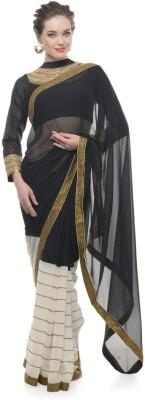 Aarohii Solid, Striped Bollywood Georgette Sari