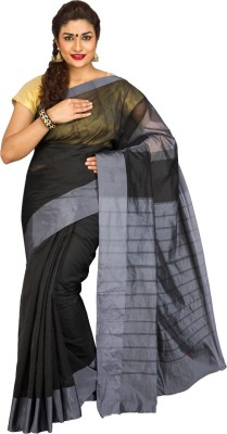 Korni Solid, Striped Banarasi Cotton, Silk Saree(Multicolor) at flipkart