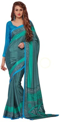 Friendlyfab Printed Fashion Pure Crepe Sari