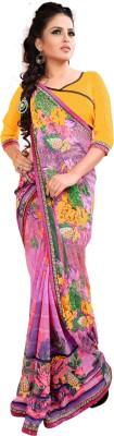 Parisha Self Design, Printed Fashion Georgette Sari(Pink, Multicolor, Yellow) at flipkart