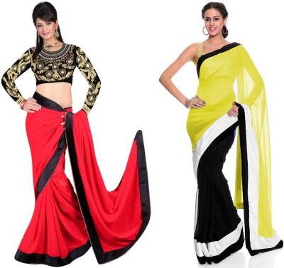 Tulsi Nx Solid Fashion Georgette, Georgette Sari