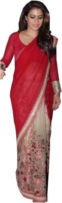 mGm Creation Self Design Fashion Georgette, Net Sari