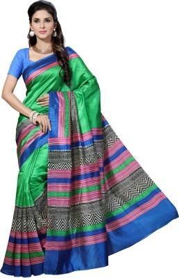 Rani Saahiba Printed Bhagalpuri Handloom Pure Silk, Dupion Silk Sari(Green)