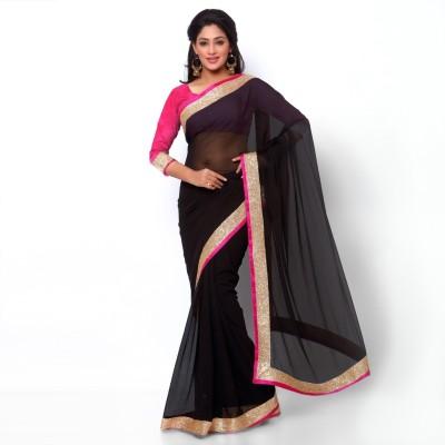 Ziyaa Solid Fashion Synthetic Georgette, Viscose Sari