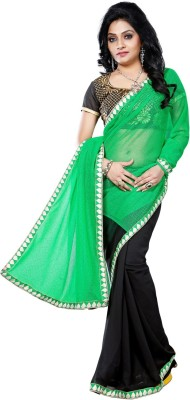 Vruticreation Self Design, Embriodered Fashion Lycra, Georgette Sari
