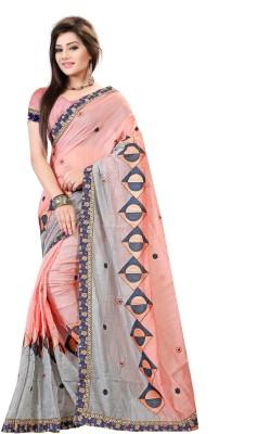 Pari Designer Embroidered Fashion Cotton Saree(Multicolor) at flipkart