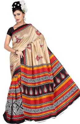 Keya Sarees Paisley, Printed Bhagalpuri Silk Sari