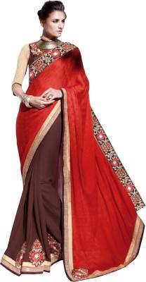 Parisha Embroidered Daily Wear Chiffon, Georgette Sari(Orange, Brown) at flipkart