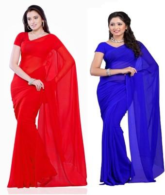 Fatkart Solid Fashion Georgette Sari