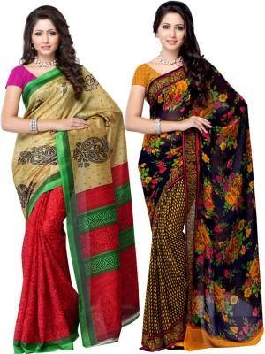 Fabdeal Floral Print Daily Wear Silk, Georgette Sari