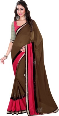 Suchi Fashion Plain Fashion Georgette Sari
