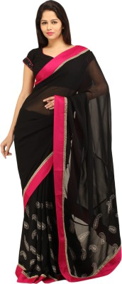 Charming Graphic Print, Solid Fashion Georgette Sari
