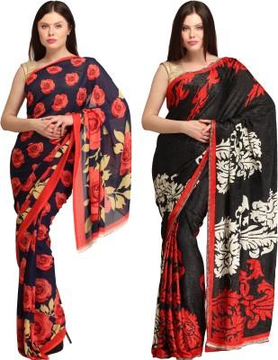 Skyline Trading Printed Daily Wear Crepe, Jacquard Sari