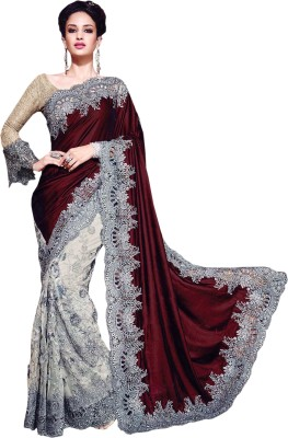 Greenvilla Designs Plain Fashion Velvet Sari