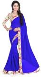 Raag Solid Fashion Chiffon Saree (Blue)